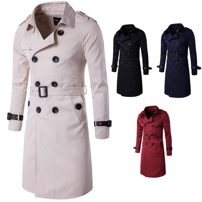 2018秋装新款欧美长款修身双排扣风衣外套男欧码时尚个性男士外套