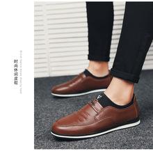 秋季休闲皮鞋男鞋青年韩版潮流黑色增高鞋子软底软面皮商务休闲鞋