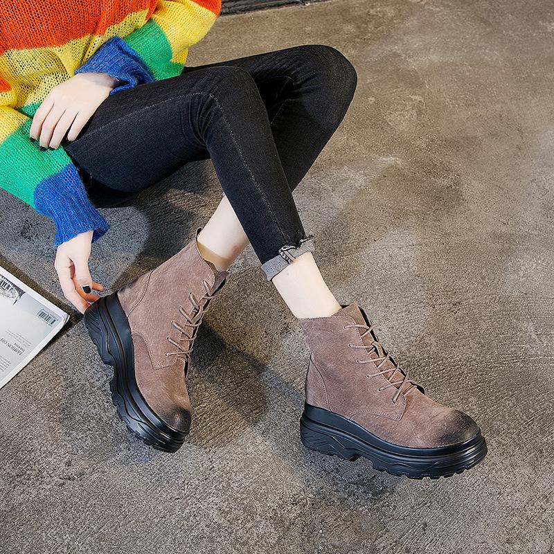 秋冬新款加绒保暖女鞋真皮内增高马丁靴女圆头系带高跟擦色靴批发