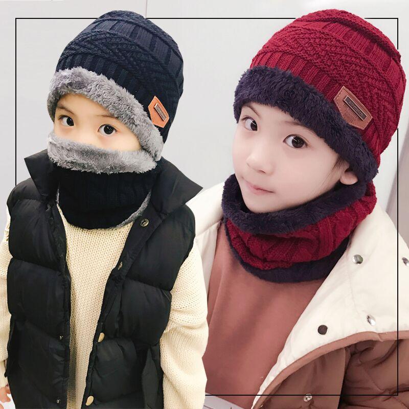 韩版毛线帽子儿童针织帽加绒加厚毛线帽套头帽围脖亲子休闲帽套装
