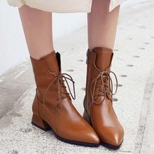 2018秋冬新款女鞋马丁靴女低跟尖头女式短靴粗跟靴子女一件代发
