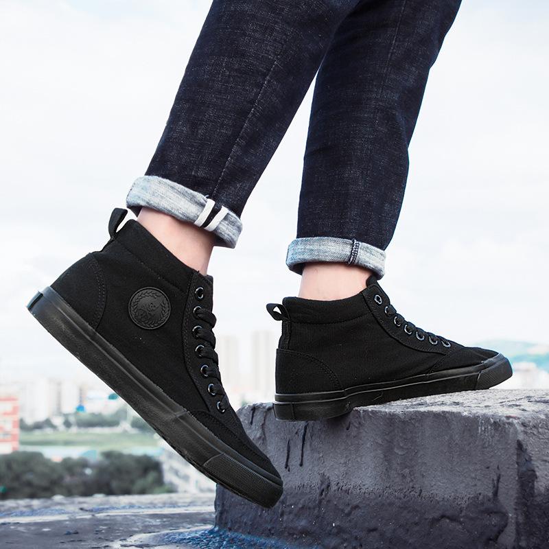 冬款男士高帮板鞋韩版潮流全黑帆布鞋百搭青少年休闲鞋学生男鞋子