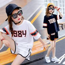 女童休闲运动套装2019?#21512;?#35013;韩版中大童女孩宽松短袖短裤两件套潮