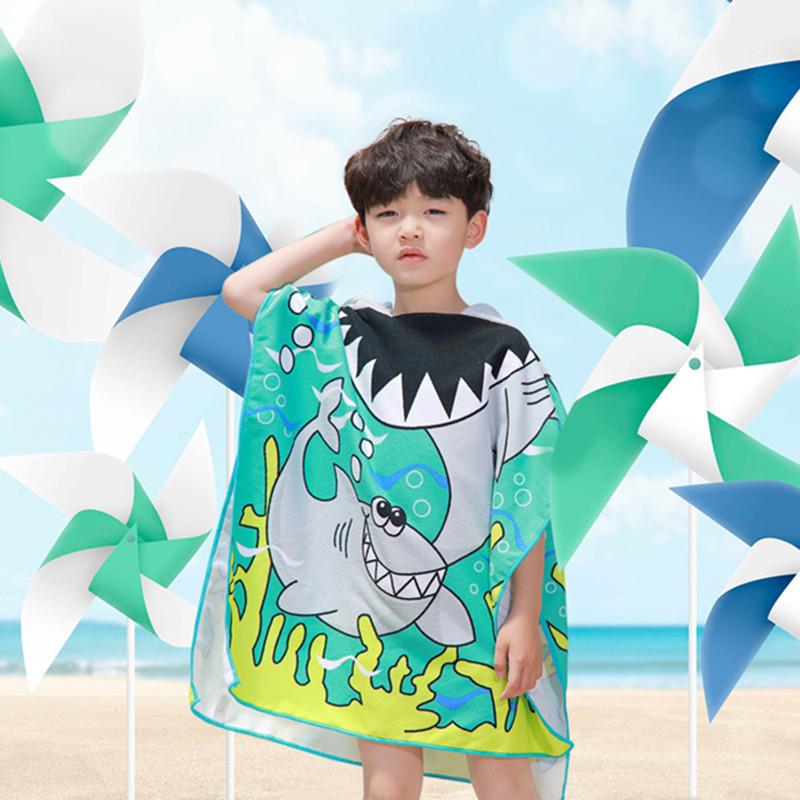 厂家直销 鲨鱼儿童浴巾沙?#27493;?#26007;篷小孩披风卡通印花连帽浴巾批发