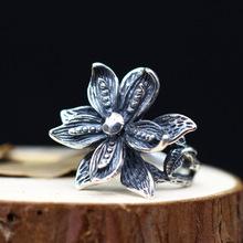 个性精雕做旧立体开口指环泰银饰品复古唯美花朵女士纯银925戒指