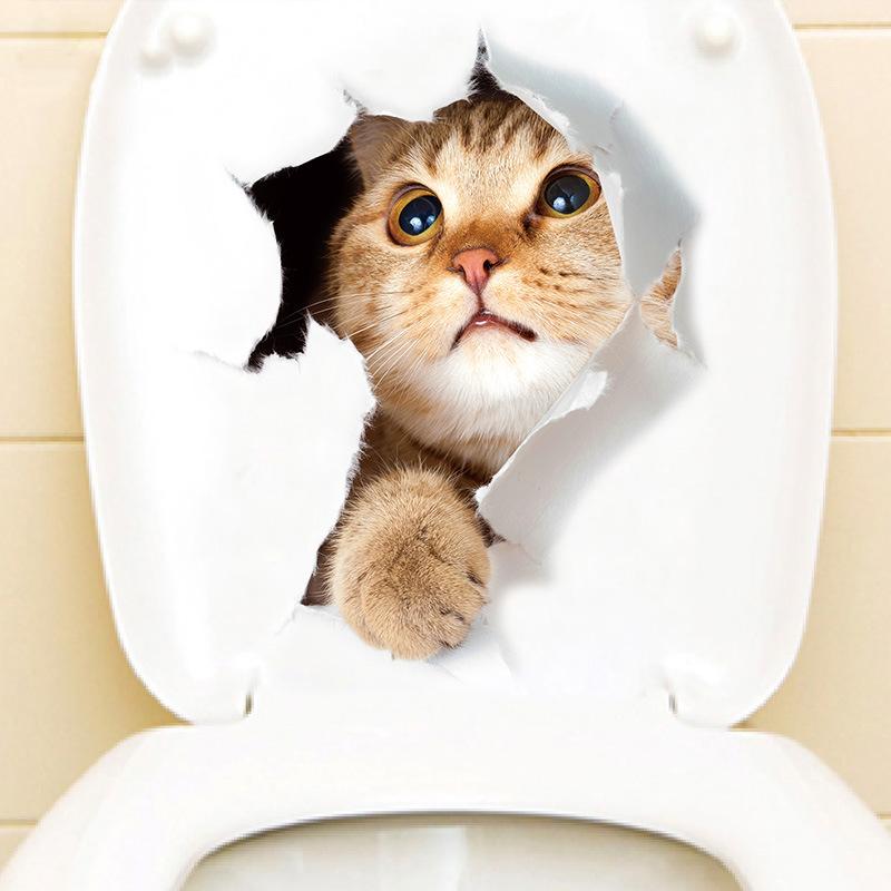 梵汐新款可爱破洞猫咪创意家居装饰3d动物墙贴浴室卫生间马桶贴