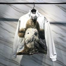 秋冬新款?#20449;?#27454;潮流联名绵羊粉兔子熊3D数码直喷印花夹克