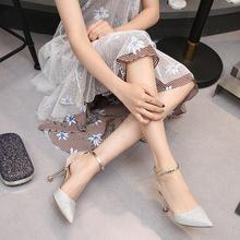 新款时尚尖头单鞋女韩版一字扣高跟鞋细跟凉鞋女2019夏季厂家批发