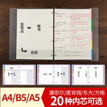 A4B5A5康奈尔5R笔记本活页本学生用考研记事本子替换芯方格手账本