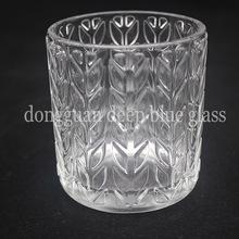 透明花纹玻璃烛台蜡烛杯家居装?#32441;?#25670;件工艺品