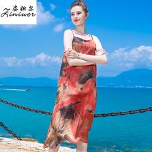 2019新款夏季打底吊带裙时尚印花性感大码雪纺连衣裙女气质沙滩裙