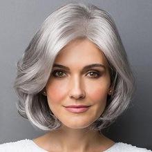 外贸欧美假发中老年人短卷发银灰色短发化纤发蓬松逼真中分假发套