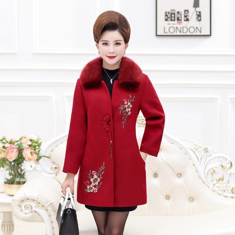 2018新款中老年女装秋冬装毛呢大衣中年妈妈大毛领中长款加棉外套