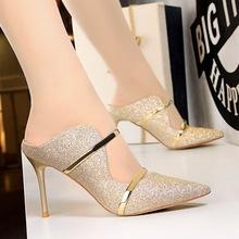 1788-1欧美风时?#34892;?#24863;夜店女鞋细跟高跟亮片布一字带夏季凉拖鞋女