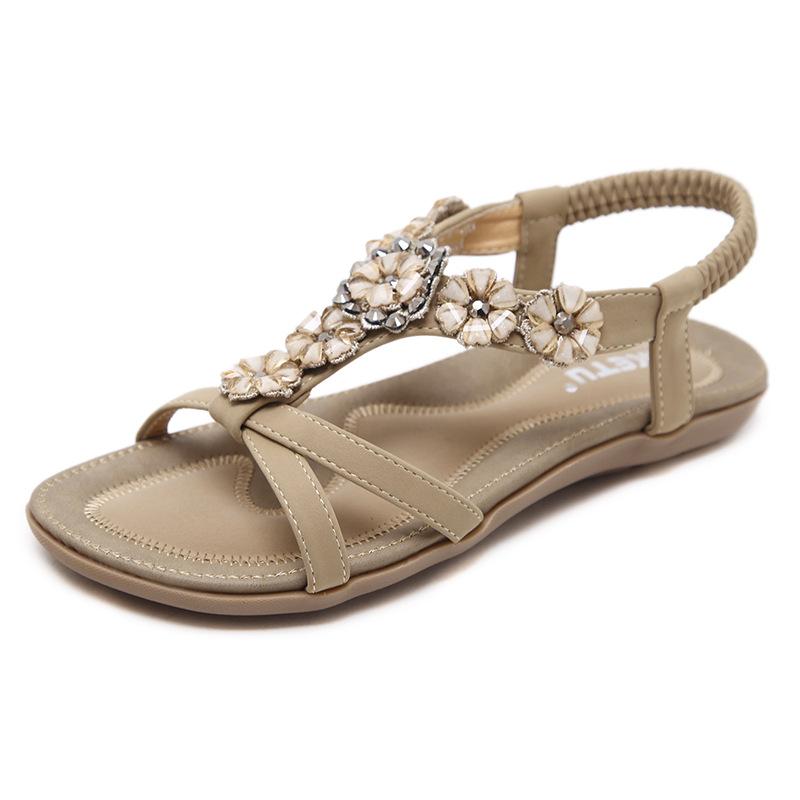 560-22新款2019甜美 凉鞋波西米亚花朵水钻平底鞋女鞋一件代发
