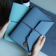 A5创意三折绑带活页可拆卸手账本简约日记本棉麻PU皮面文艺笔记本