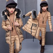 女童冬裝套裝2019冬季新款韓版棉襖加厚時髦三件套兒童女洋氣童裝