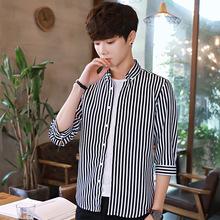 夏季青少年潮男学生七分袖衬衫韩版时尚宽松中袖休闲棉质7衬衣