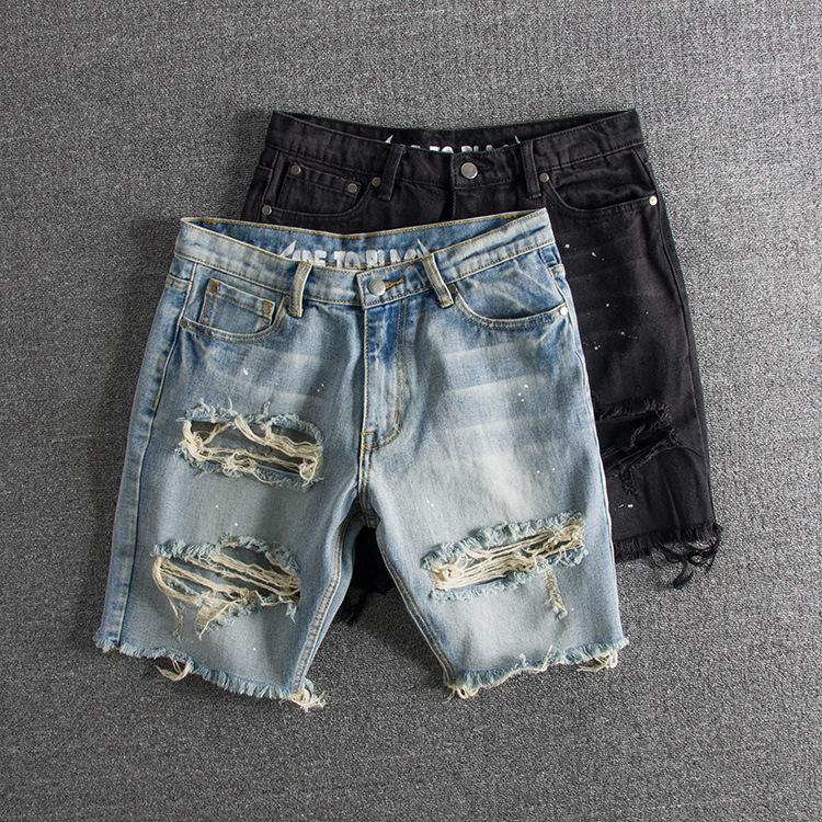 水洗做旧泼墨大破洞青年潮款外贸原单男牛仔短裤