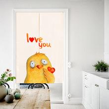 手繪萌寵插畫門簾布藝棉麻 臥室客廳隔斷簾家用裝飾簾窗簾可定制