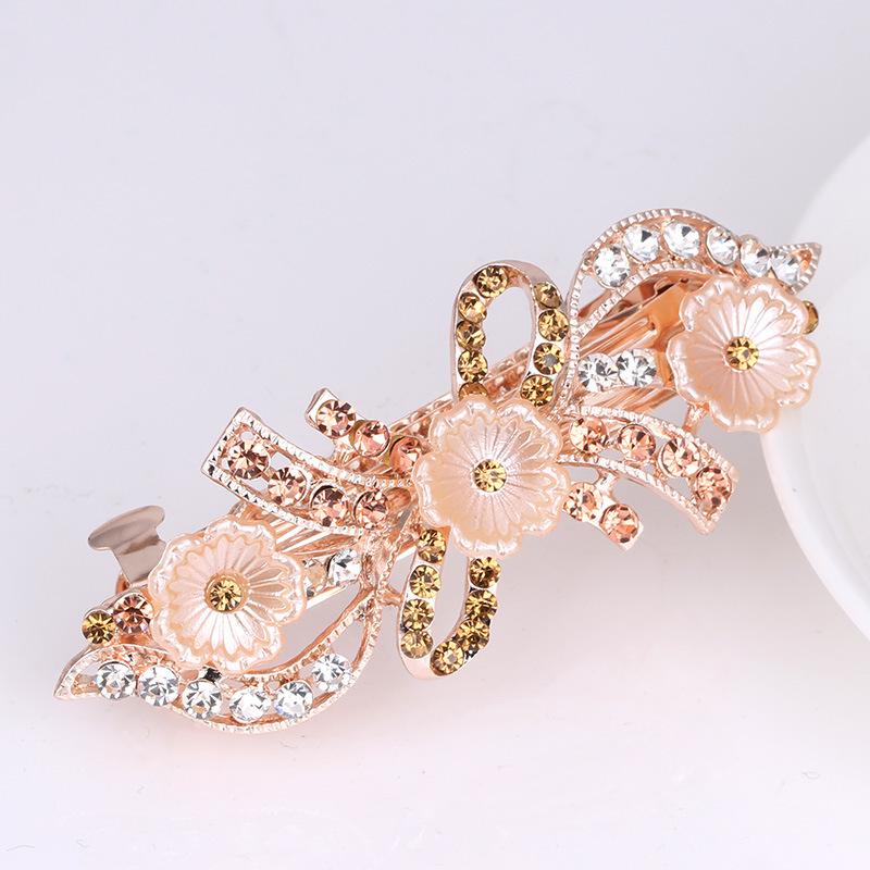 韩版珍珠水钻马尾发夹头饰 女士百搭弹簧叶子发卡花朵发饰批发