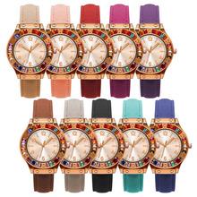 一件代发手表 简约时尚手表 仿机械表 彩钻6数字女士皮带手表 男