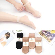 秋季女士天鵝絨鋼絲襪子 防勾鋼絲襪 地攤短襪絲襪 純色對對女襪