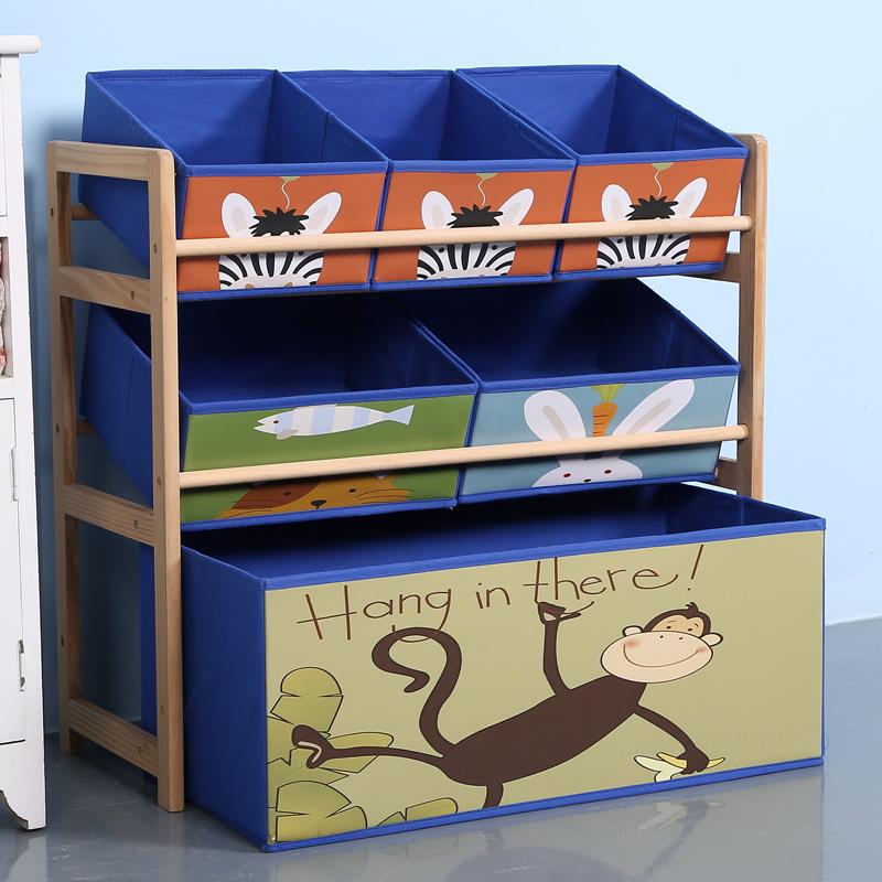 心悦嘉 卡通儿童玩具架 实木幼儿园宝宝玩具收纳架 家用整理架