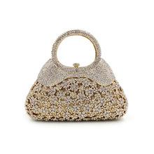 BL039速卖通水钻包缕空金属水晶晚宴包手工镶钻包外贸女士手提包