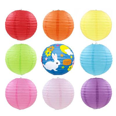 新年装饰纸灯笼圆形灯笼 元旦儿童手工材料diy绘画灯笼纸春节