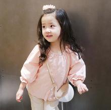 春款童装女童衬衫长袖薄款韩版纯棉女童长袖开衫纯色宝宝上衣