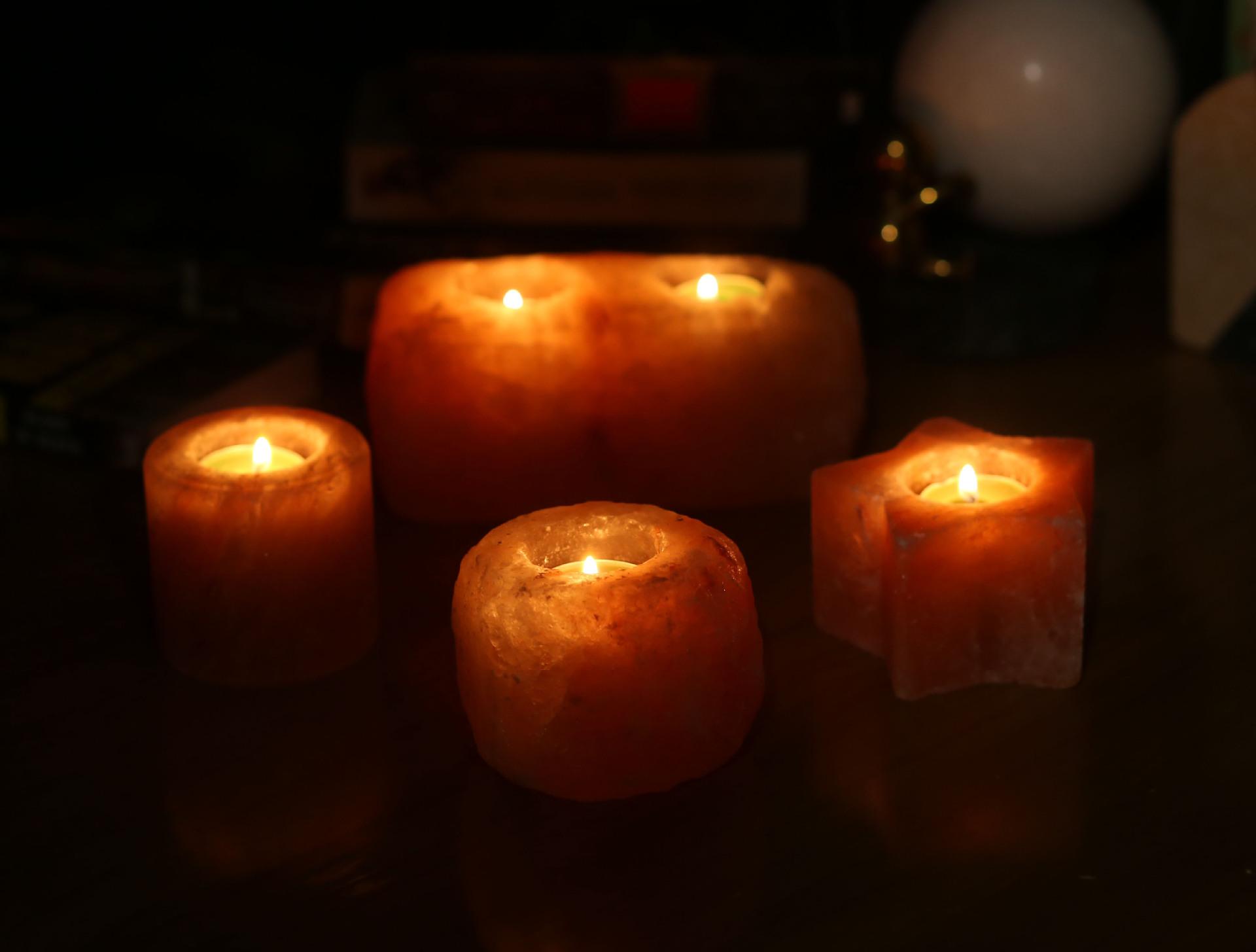 盐可言 天然喜马拉雅 造型水晶烛台 Party派对氛围蜡台家居装饰品