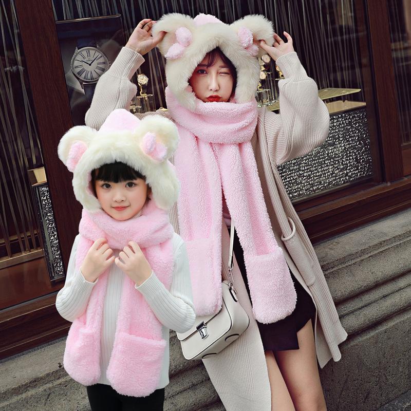 2018新款冬季男女親子保暖圍巾戶外運動加厚防寒毛絨帽子手套圍巾