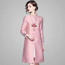 中国风旗袍外套2019秋装新款中式复古气质绣花长款唐装风衣80959