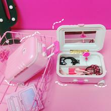韓國chic少女心行李箱首飾收納盒軟妹可愛芭比粉色音樂盒生日禮物