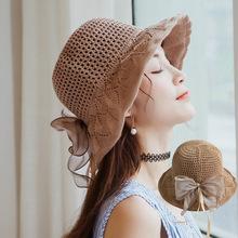 女士夏季遮阳帽韩版时尚防晒帽子新款棉麻透气太阳帽户外盆帽