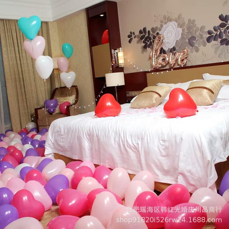 批发婚房装饰气球 12寸爱心气球 6号鸡心乳胶气球1.2克心形气球