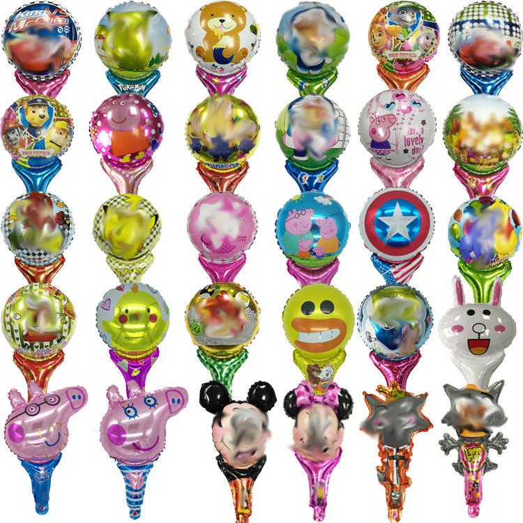 手持棒铝膜卡通气球 充气卡通气球打击棒 地推卡通气球
