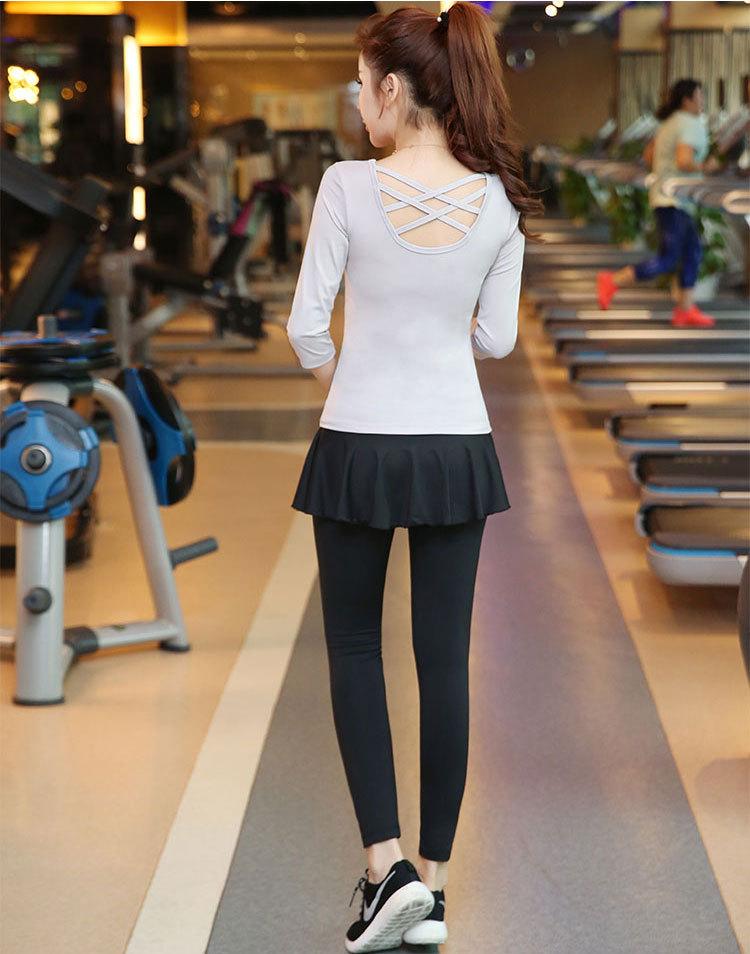 瑜伽服裤子假两件裙裤显瘦跳拉丁舞紧身裤速干高弹健身跑步运动裤
