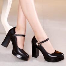 头层牛皮尖头时尚高跟鞋走秀模特舒适粗跟真皮?#28843;?#22823;小码单鞋女