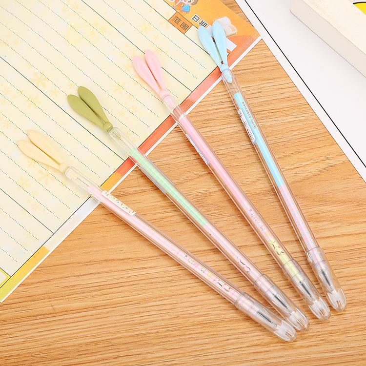 厂家直销卡通硅胶兔子耳朵中性笔创意可爱学习办公针管水性签字笔