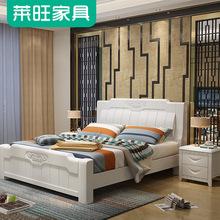中式实木床橡木单人1.5米双人1.8米白色简约现代婚床高箱储物特价