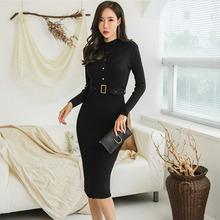 外贸女装2019秋冬韩版圆领单排扣收腰系带紧身中长针织连衣裙女
