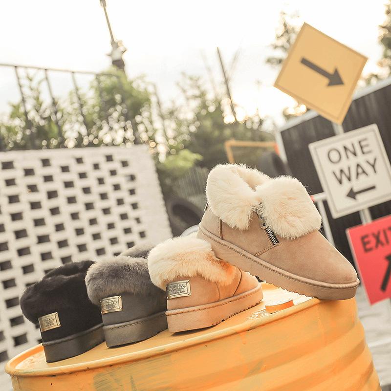 厂家直销雪地靴女新款保暖毛口绒面米色低帮拉链金属扣厚底棉靴