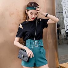 黑色短袖t恤女欧货2019夏季新款纯色宽松露肩体恤韩版半袖潮上衣