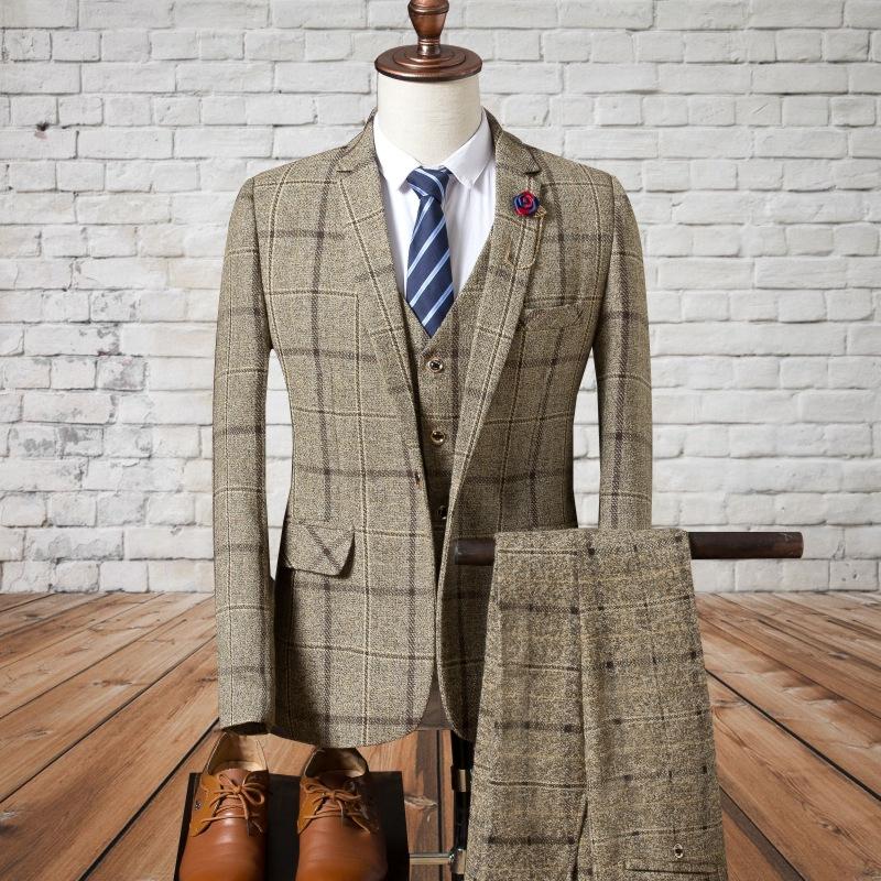 18秋季新款男士时尚韩版修身格子潮流西服三件套青年婚礼西装套装