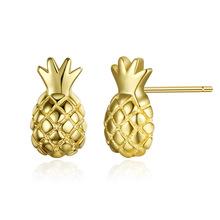 外贸S925纯银耳钉菠萝水果耳针真金电镀青春时尚精致耳?#25105;?#20214;代发