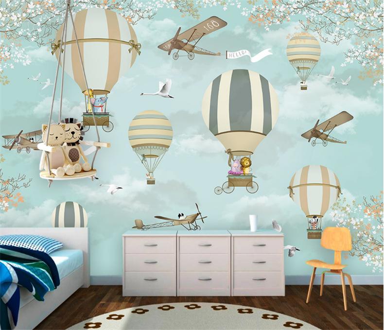 3d卡通手绘环保壁纸儿童房无缝定制壁画飞机热气球无纺布墙纸批发