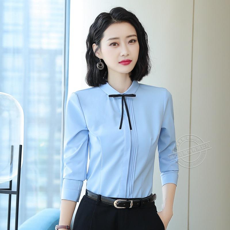 秋季新款长袖女士衬衫通勤气质休闲修身衬衣珠宝店销售办公工作服