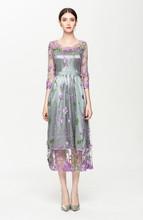 欧美风秋季新款气质优雅时尚女装网纱刺绣连衣裙修身显瘦长裙8109